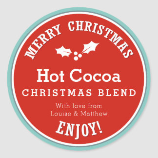 Red and blue Christmas Hot Cocoa diy gift sticker