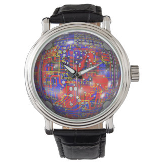 Red and Blue Circuit Board Watch