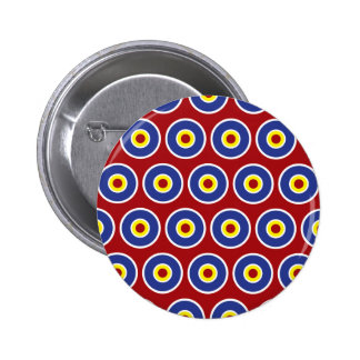 Red and Blue Concentric Circles Bullseye Pattern Pin