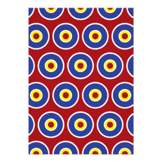 Red and Blue Concentric Circles Bullseye Pattern Invite