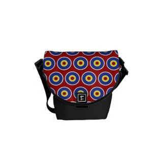 Red and Blue Concentric Circles Bullseye Pattern Courier Bag