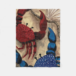 Red and Blue Crab Fleece Blanket