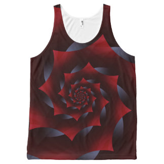 Red and Blue Dark Spiral Fractal  Unisex Tank All-Over Print Tank Top