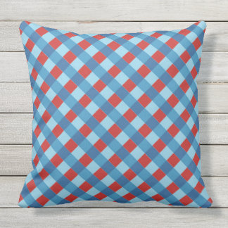 red and blue diagonal stripe pattern cushion