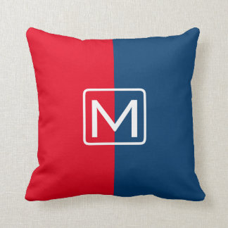 Red and Blue Dual Tone Monogram Cushions