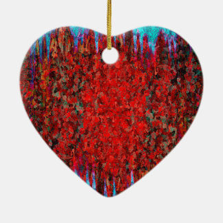 Red and blue fire and ice ceramic heart decoration