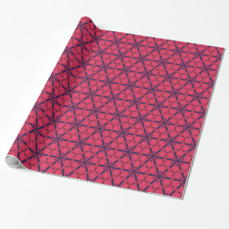 Red and blue floral and curl wrapping paper