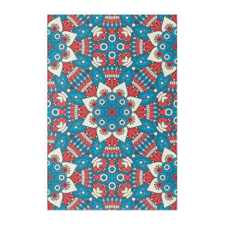 Red and Blue Floral Mandala Acrylic Wall Art