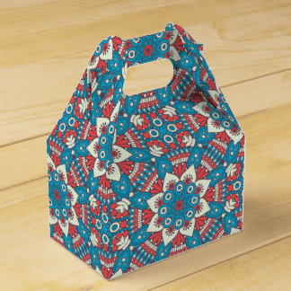 Red and Blue Floral Mandala Favour Box