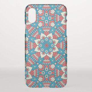 Red and Blue Floral Mandala iPhone X Case