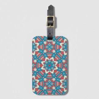 Red and Blue Floral Mandala Luggage Tag