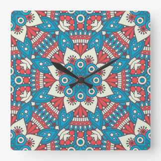 Red and Blue Floral Mandala Square Wall Clock
