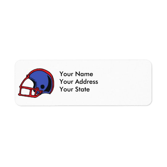 red and blue football helmet graphic return address label