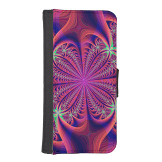 Red and Blue Fractal Flower Phone Wallets