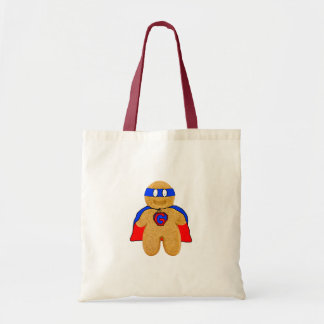 red and blue gingerbread man super hero bag
