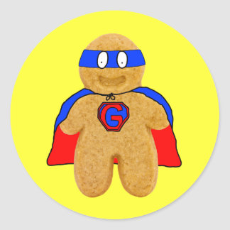 red and blue gingerbread man super hero sticker