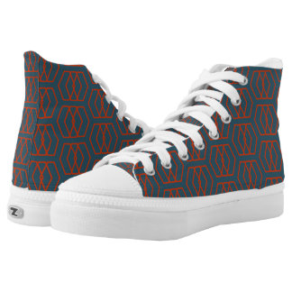 Red and Blue Good Vibration Hypno Hightop Printed Shoes