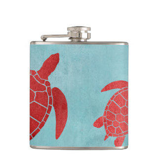 Red and Blue Green Sea Turtle Hip Flask
