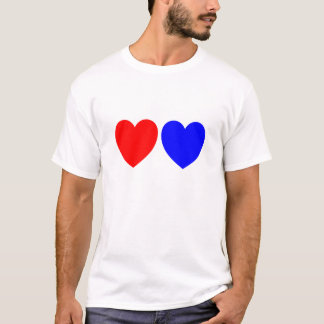 Red And Blue Hearts, Abstract Art Print T-Shirt