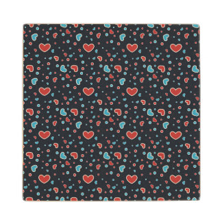 Red and Blue Hearts Pattern Maple Wood Coaster
