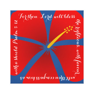 Red and Blue Hibiscus Canvas Bible Verse Canvas Print