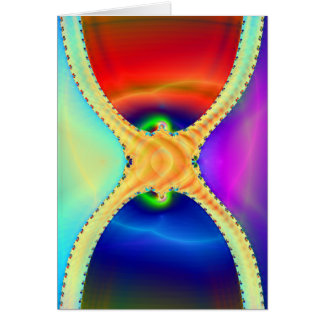 Red and Blue Hourglass Fractal Card