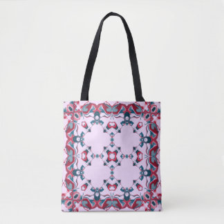 Red and Blue Kaleidoscope Pattern #3 Tote Bag