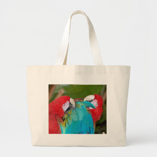 Red and blue macaw parrot print canvas bag
