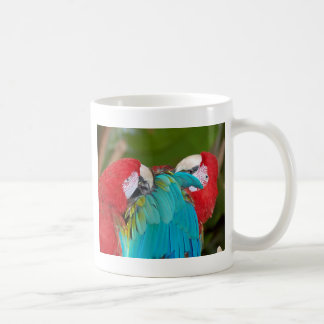 Red and blue macaw parrot print basic white mug