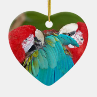 Red and blue macaw parrot print ceramic heart decoration