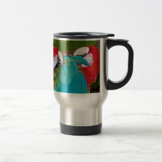 Red and blue macaw parrot print travel mug