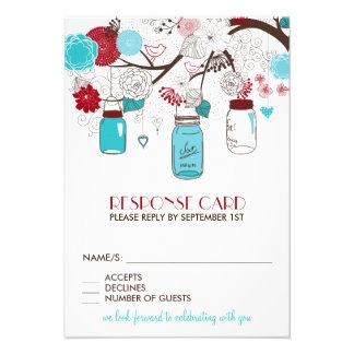 Red and Blue Mason Jars Holiday Wedding RSVP Card