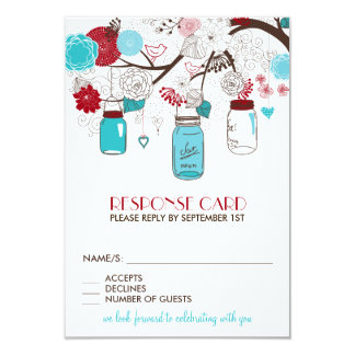 Red and Blue Mason Jars Holiday Wedding RSVP Card