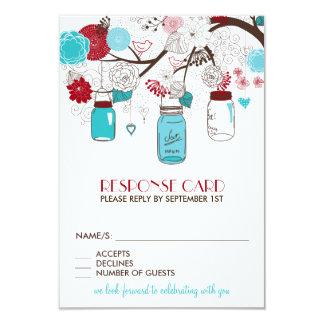 Red and Blue Mason Jars Holiday Wedding RSVP Card 9 Cm X 13 Cm Invitation Card