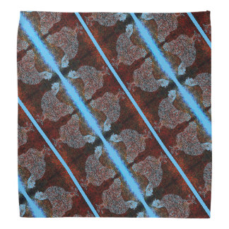 Red and Blue Mirrored Chicken Striped Head Kerchiefs