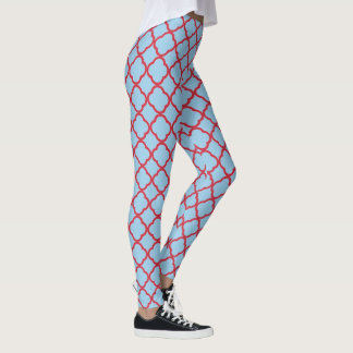 Red and blue Moroccan pattern Leggings