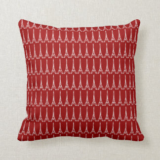 red and blue Paris Eiffel tower pattern Cushion