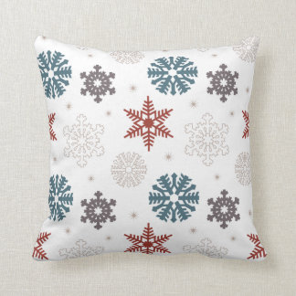 Red and Blue Patriotic Festive Snowflakes Pattern Throw Pillow