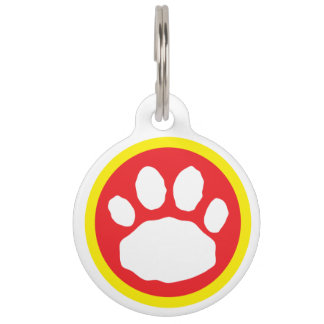 Red and Blue Patriotic Paw Print Pet Tag