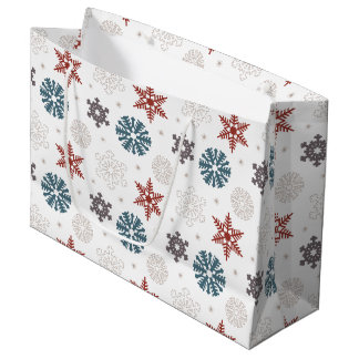 Red and Blue Patriotic Snowflakes on White Pattern Large Gift Bag