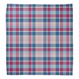 Red and blue plaid checkerboard dog bandana
