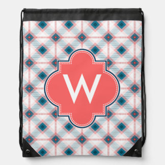 Red and Blue Plaid Drawstring Backpacks