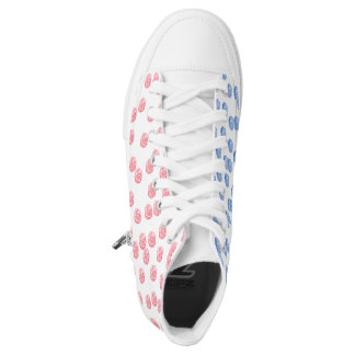 Red and blue polka dot printed shoes
