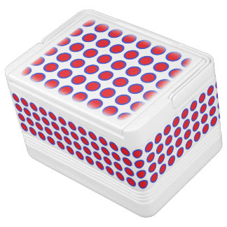 Red and Blue Polka Dots White Cooler