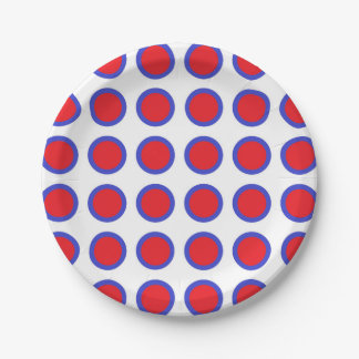 Red and Blue Polka Dots White Paper Plate