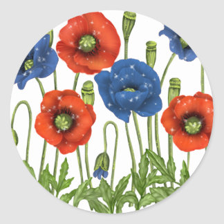 Red and Blue Poppies Sticker