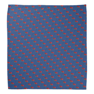 Red and blue poppy flower floral print on blue head kerchiefs