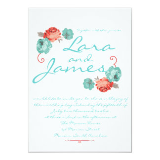 Red and Blue Rose Vintage Style Wedding Invitation