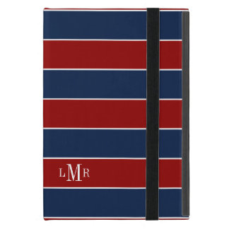 Red and Blue Rugby Stripes Monogram Case For iPad Mini