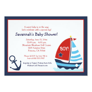 Red and Blue Sailboat 5x7 Baby Shower Invitation